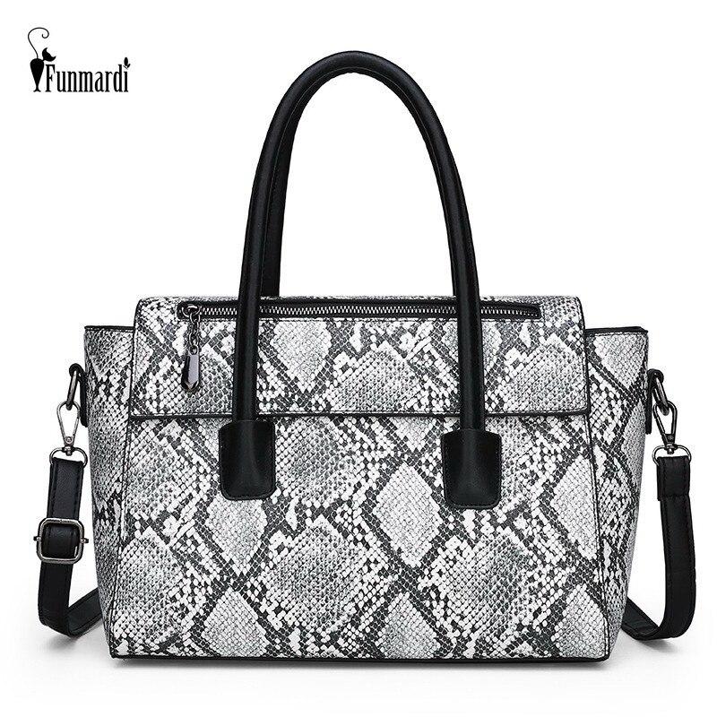 FUNMARDI Fashion Serpentine Women Handbags Big Shoulder Bag For Women 2019 PU Leather Crossbody Bags Ladies Casual Tote WLHB2004 in Top Handle Bags from Luggage Bags