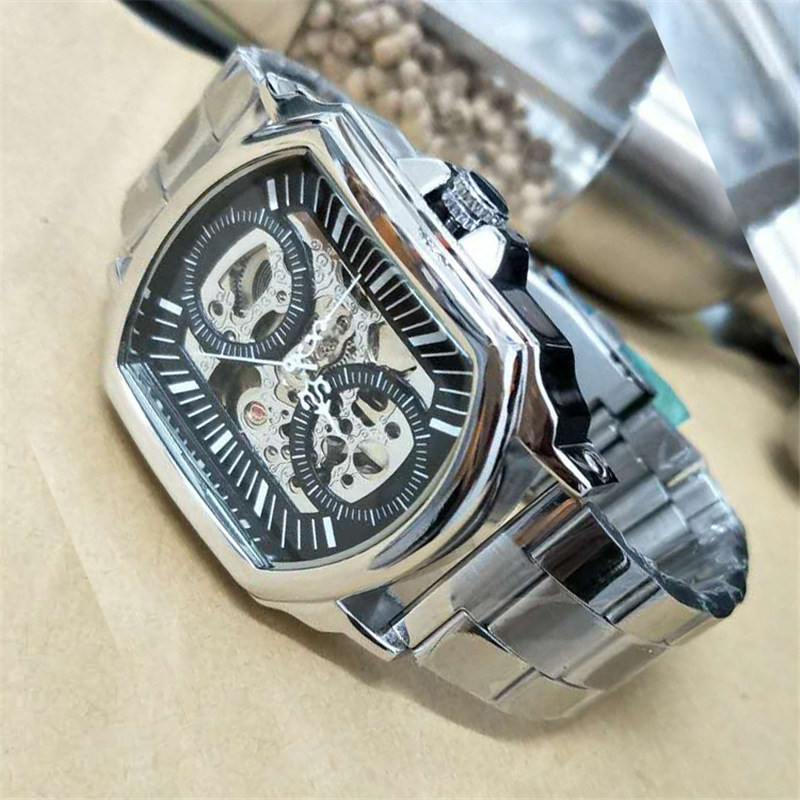 Top Brand Winner Automatic Mechanical Men Watch Stainless Steel Band Hollowed Out Business Leisure Wrist Watch