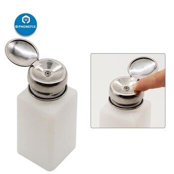 100 200 250ml Plastic Alcohol Bottle Storage Cleaner Soldering Flux Press Metal Cap For Mobile Phone Tablet PC Repair