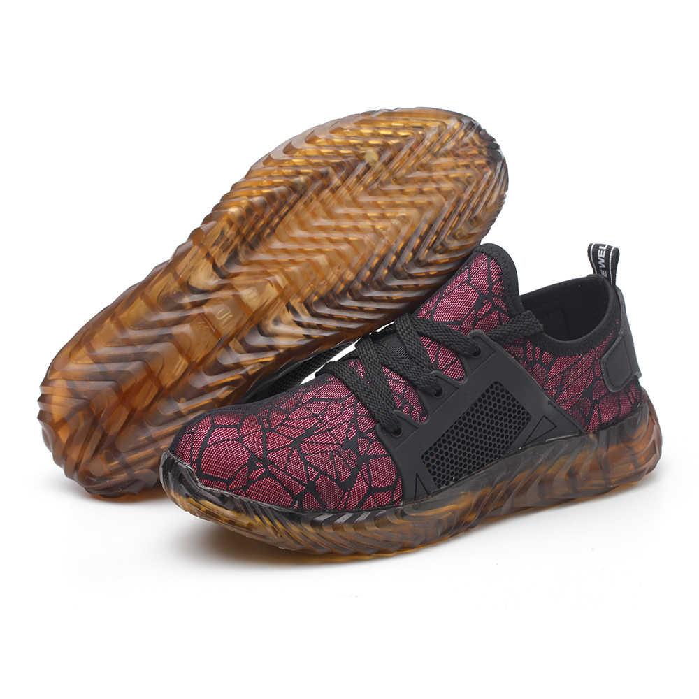 Yaz erkek açık nefes örgü çelik ayak Anti Smashing güvenlik ayakkabıları erkekler açık delinme geçirmez rahat iş ayakkabısı çizme