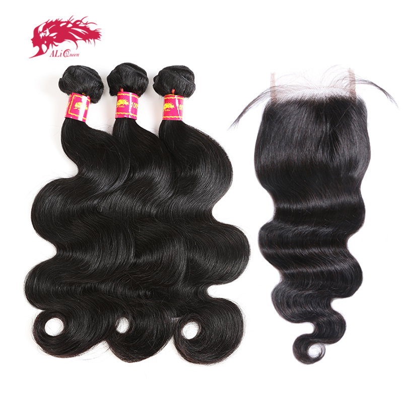 Ali Queen Hair Bundles With HD Transparent Lace Closure 3/4Pcs Brazilian Body Wave Remy Hair Bundles With Closure Free Part