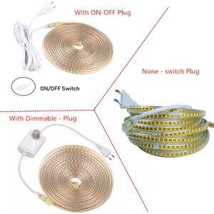 Image 5 - 220V su geçirmez Led şerit ışık ile ab tak 2835 SMD esnek halat işık, 120 Leds/M yüksek parlaklık açık kapalı Dimmer dekor