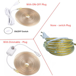 Image 5 - Tira de luz Led impermeable de 220V con enchufe de la UE 2835 SMD Luz de cuerda flexible, 120 Leds/M de alto brillo al aire libre interior Dimmer decor