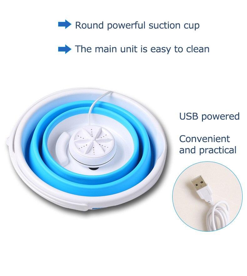 Складная мини-стиральная машина, объем 10 л, ультразвуковой очиститель, портативная турбо-стиральная машина с питанием от USB, стиральная машина для путешествий 2