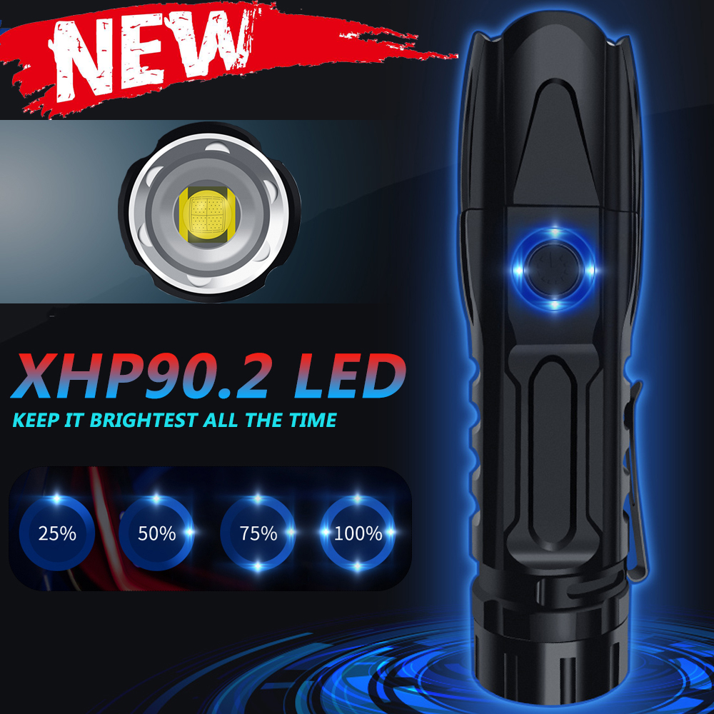 Most Powerful XHP90.2 LED Flashlight XH50 XLamp Tactical Waterproof Torch Smart Chip Control With Bottom Attack Cone Flashlights