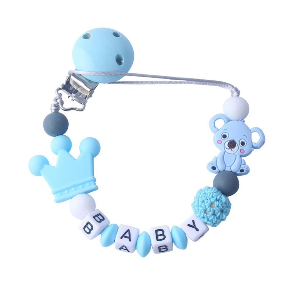 3M PCS Cute Koala Letter Beads Silicone Teether Bracelet Teething Soother Pacifier Clip New
