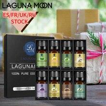 Ship From ES/FR/RU LAGUNAMOON 8PCS Set 10ML Pure Essential Oils Massage Diffuser Ylang Sandalwood Lavender Vanilla Eucalyptus