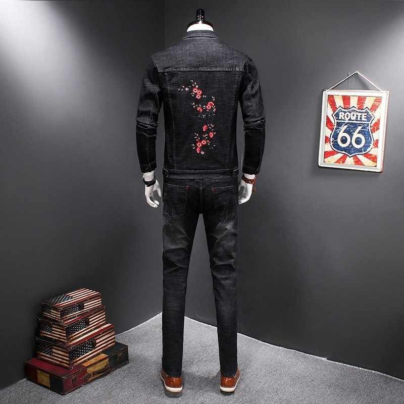 Mode Heren Denim Jasje Jeans 2 Stuks Set Casual Slim Fit Bloemen Borduren Outfits Past Cowboy Jas Potlood Broek Ensemble homme