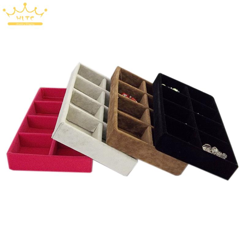 Free Shipping Velvet Portable Jewelry Display Tray 8 Grids For Ring Earrings Holder Container Jewellery Storage Organizer Box