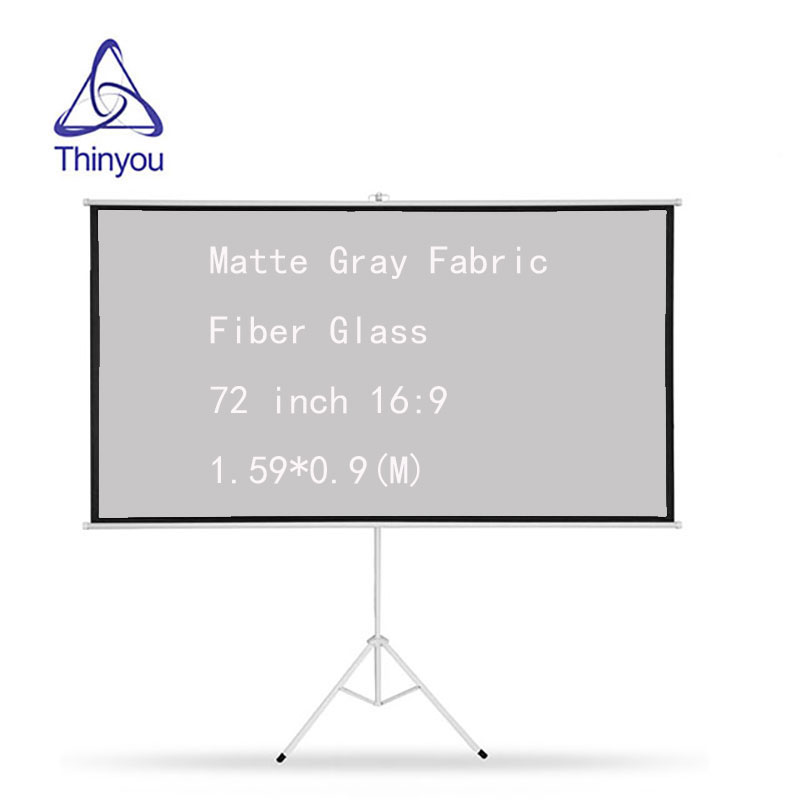 Thinyou Tripod Projector Screen 72 inch 16:9 Matte Gray Fabric Fiber Glass Pull Up Bracket For HD with Stand
