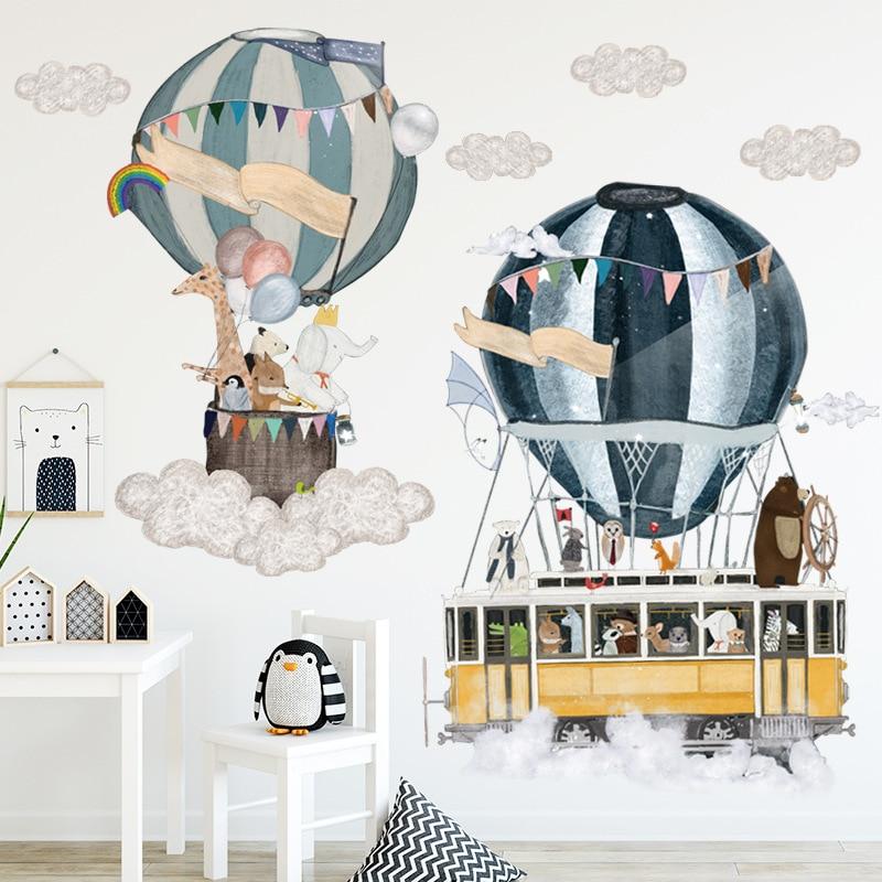 Cartoon Hot Air Balloon Wall Stickers Animals Kids room Baby Nursery Room Decoration Wall Decals Eco-friendly Art Vinyl Murals