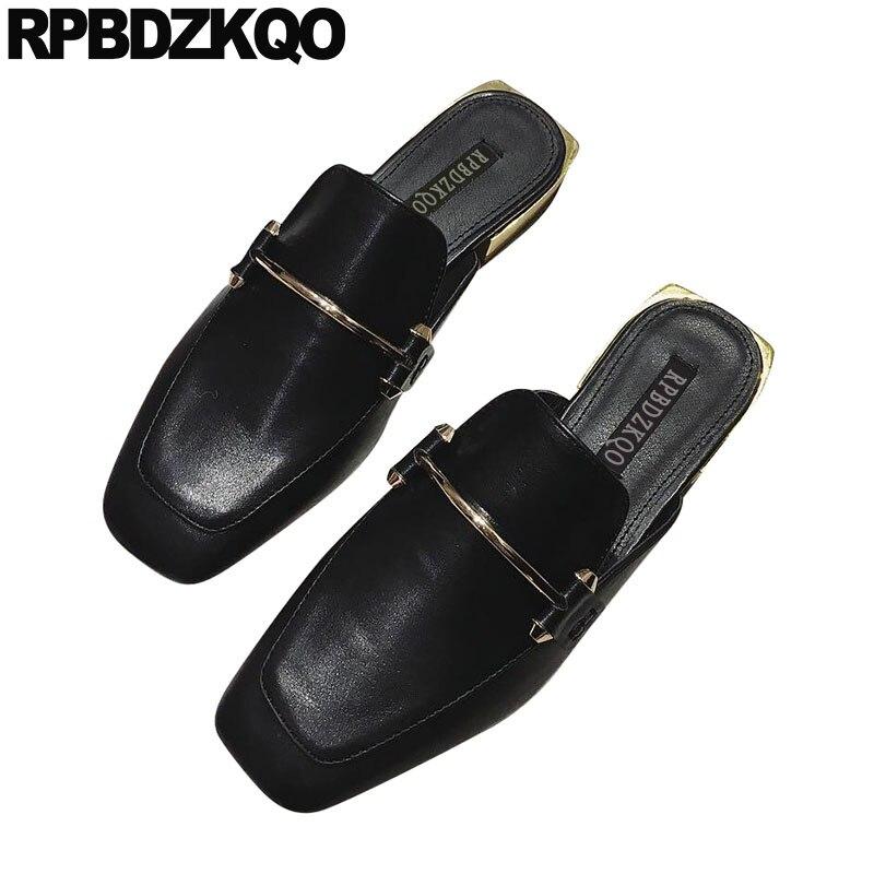 Dames belles chaussures plates Mules sans lacet mocassins noirs marche bout carré sandales métal pantoufles Designer Fitness 2019 femmes