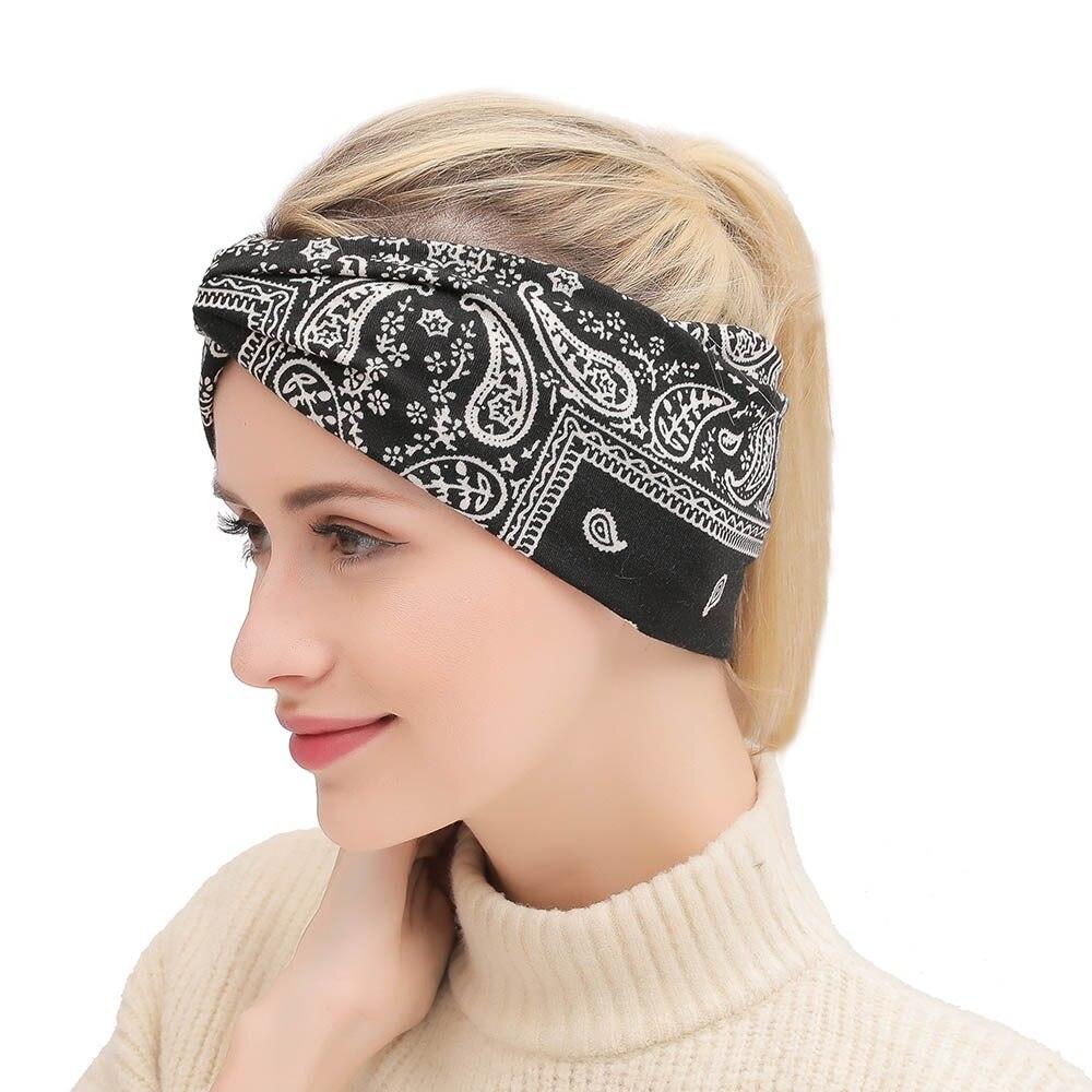 CN Bohemian Elastic Hair Bands For Girl Women Knot Bow Hair Hoop Printed Cross Cloth Headbands Women Girl Head Hair Accessories