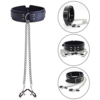 BDSM Bondage Sex Toys Restraint Fetish Collar Chain Collars Collocation Nipple Clamps For Women Adult Games Exotic Accessories adult game locking stainless steel slave collar bondage neck ring restraint fetish toys metal sex collar sex toys for women men
