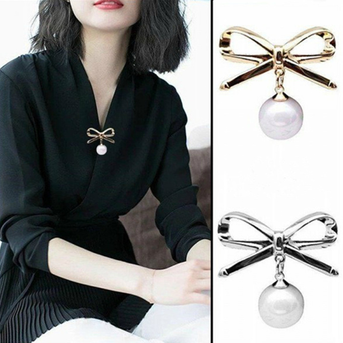 Bow Brooch Fashion Brooches Wild Imitation Pearl Brooch Pins Simple Sweater Pin Shawl Buckle Badge Accessories