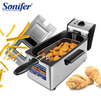Frytkownica elektryczna 3L francuski Frie maszyna do smażenia piekarnik gorący kociołek smażony kurczak Grill regulowany termostat kuchnia gotowanie Sonifer tanie i dobre opinie Ptfe 2000 220 v SF1003 SQUARE Aluminium Wspólna frytkownica Sterowanie ręczne mechanik timera Regulowany termostat sterowanie