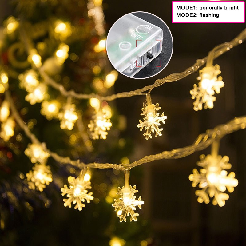 300cm LED Snowflake String Lights Snow Fairy Garland Decoration For Christmas New Year Valentine's Day Battery Switch Operated
