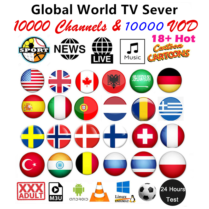 HD World Iptv Subscription 10000 Live 10000 VOD 4K Hd Best For Europe Arabic USA Africa Latino Asia Android Smart Tv M3U Iptv
