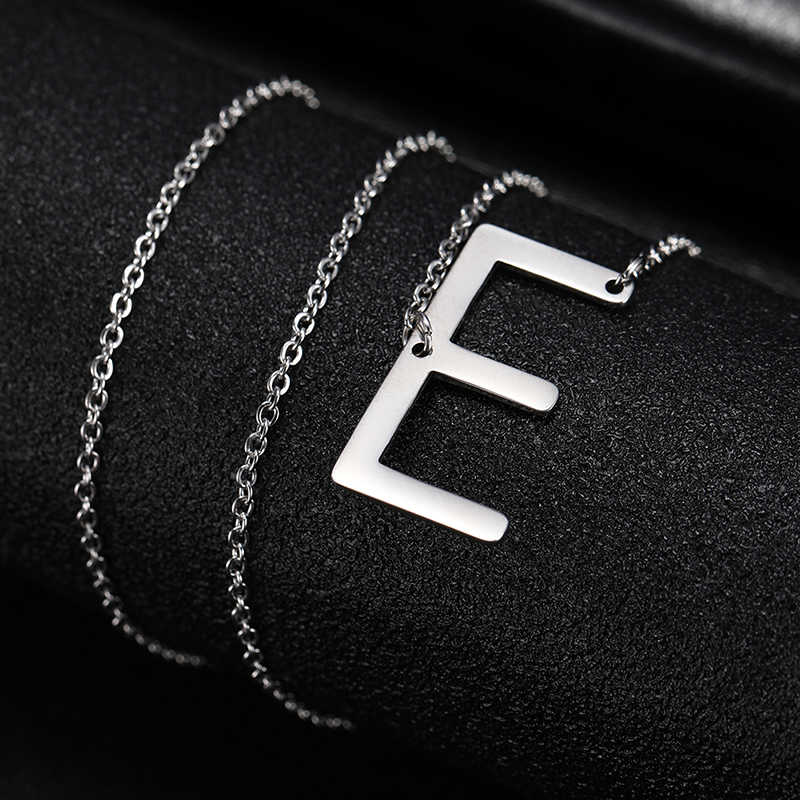 COOLTIME pequeña inicial letra collar Acero inoxidable personalizado A-Z collar con letras joyería diaria damas de honor Brincos