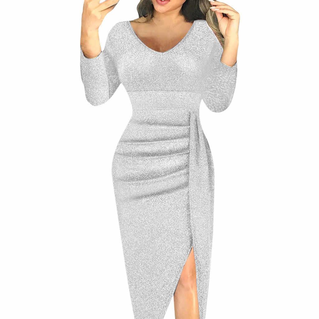 スパンコールドレスの女性のファッションエレガントな V ネックハイスリットボディコンドレスセクシーなスリムラップ長袖パーティードレスローブ Sukienki