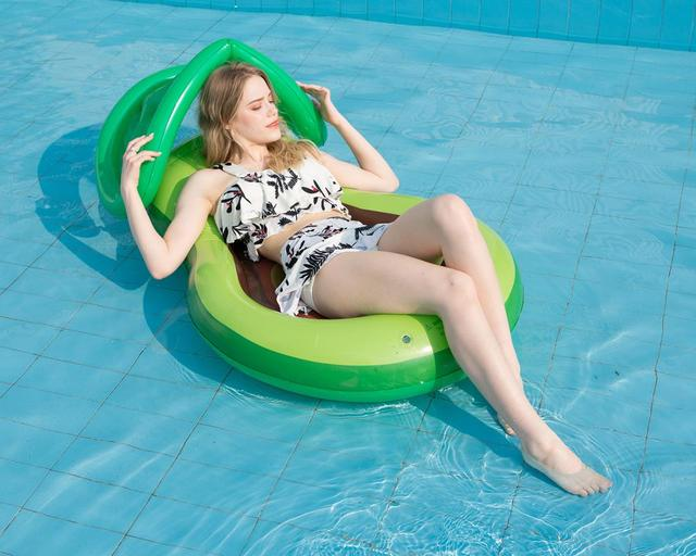 Inflatable avocadoWater adult recliner inflatable net floating Swimming Mattress sea swimming ring Pool Party Toy lounge bed swi 1