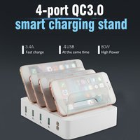 Multi Port Fast Charging USB Phone Charger 4 Ports Station Dock Stand Holder For All Phone/Tables/Smart Watch/Power Bank