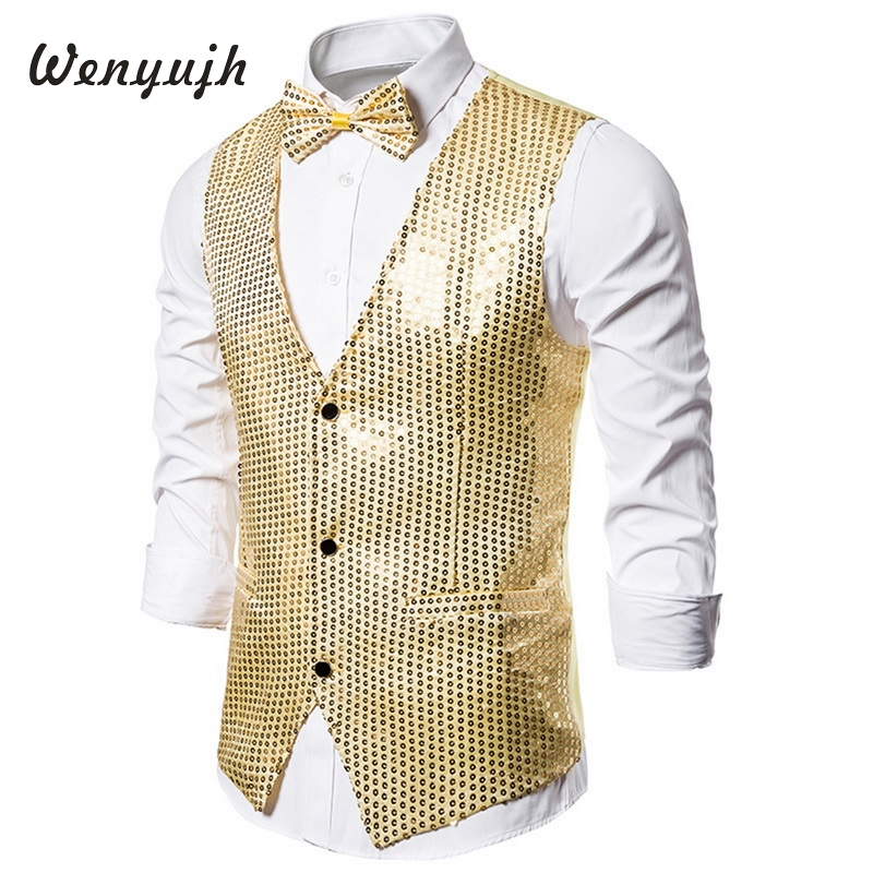 Wenyujh Men Vests Suits 2019 Fashion Slim Fit Sequins Gold Colorful Stage Men Casual Business Wedding Vest Plus Size S-2XL