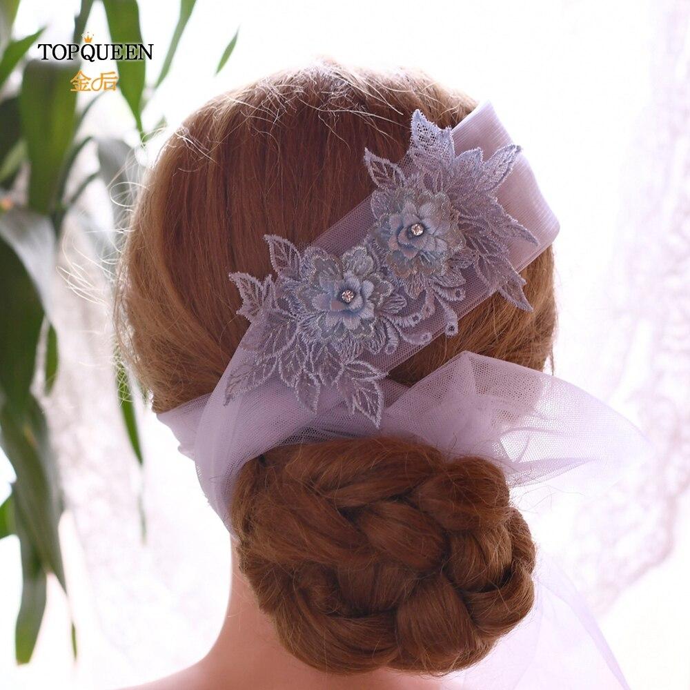 TOPQUEEN WS05 Blue Flower Wedding Veil Headband Chinese Bridal Hair Accessories Bridal Hair Tiara Headpieces Embroidery Headband