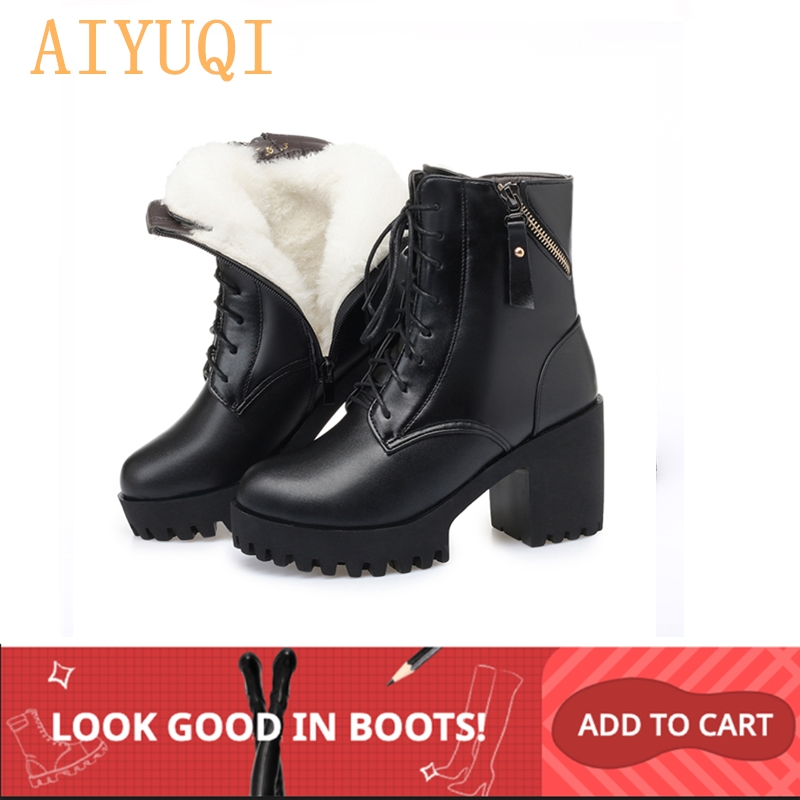 AIYUQI 2019 new winter women boots genuine leather high heel thick heel platform warm wool boots wedding shoes red-in Mid-Calf Boots from Shoes