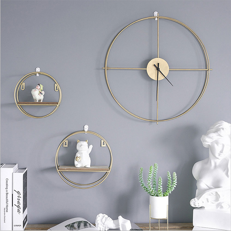 Nordic Metal Wall Shelf Metal Clock Living Room Decor Organizer Storage Holders Scandinavian Decor Metal Wood Shelf Wall Clock