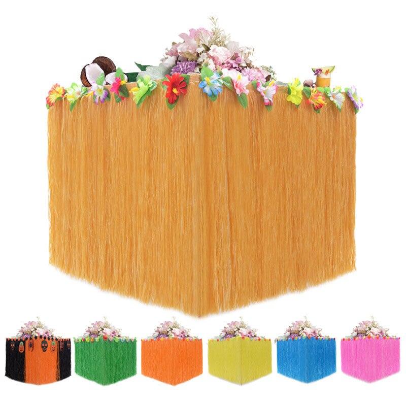 Mesa de fiesta falda paja hawaiana Luau flor hierba para jardín boda fiesta playa decoración mesa rodapié suministros de fiesta Rodapié zócalo colorido extraíble pegatinas de pared niños decoración en mural para salón