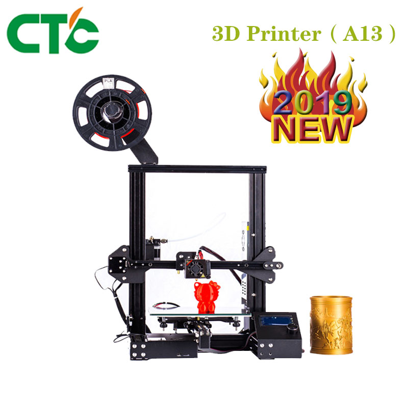 CTC A13 DIY Kit Creality 3D mejorada de alta precisión DIY 3D impresora Auto montaje 220*220*250mm Tamaño de impresión