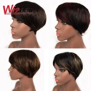 Fringe short bob wig with bangs ombre human hair colorful p1b/30 p4/30 burgundy 150 density Peruvian new fashion wigs(China)