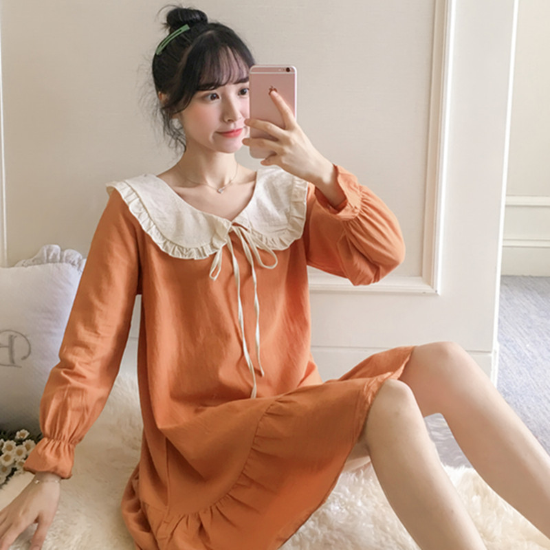 Nightgown Women's Spring And Autumn Tatting Pure Cotton Long Sleeve Princess Style Lace Pajamas Korean-style Students Sweet Oute