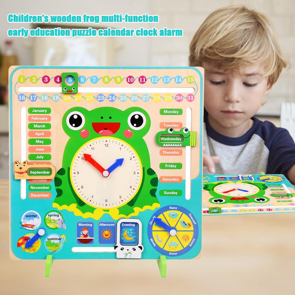 Wooden Frog Multi-function Early Education Educational Toys Children Calendar Clock Alarm Clock Cognitive Baby Kindergarten Toys