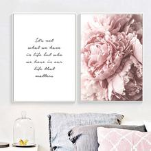 Nordic Style Pink Peony Floral Canvas Poster Flower Print Painting Wall Picture Modern Paintings Living Room Home Decoration(China)
