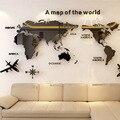 Mapa do mundo acrílico 3d cristal sólido quarto parede com sala de estar sala de aula adesivos decoração do escritório idéias