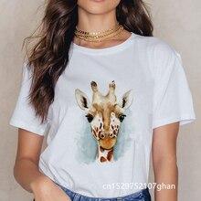 Женские летние футболки harajuku с принтом жирафа Милая футболка