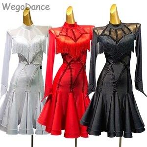Женское платье с кисточками, длинное Сетчатое платье для латинских танцев, с длинными рукавами, бесплатная доставка