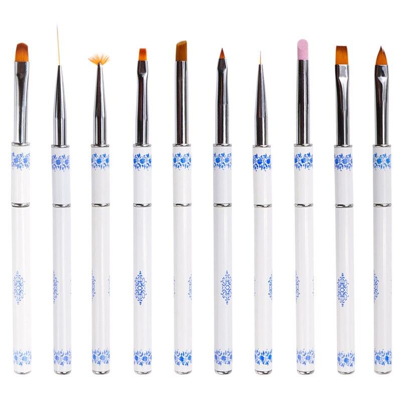 Маникюрный Инструмент фототерапия Хрустальная ручка набор синий и белый фарфор карандаш для маникюра окрашенные кисти для рисования