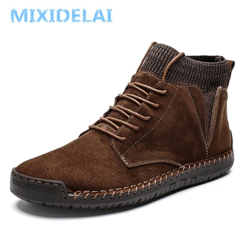 New Winter Warm Men Snow Boots High Quality Cow Suede Man Ankle Boots Fur Men Shoes Plush Autumn Basic Drive Boots Big Size 48