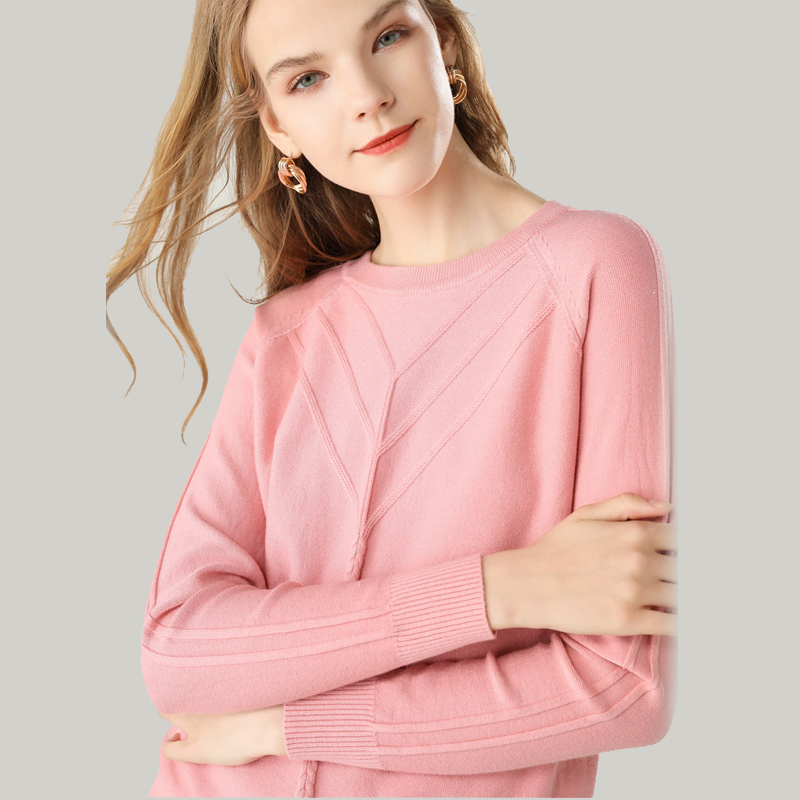 Round Neck Sweater Women Winter Autumn Knitted Pullover Long Sleeves Casual Top Blouse Stretch Jumper