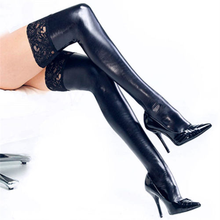 exy Black Lace Leather Stocking Women PU Leather Lace Patchwork Over Knee LongThigh High Stockings Slim Clubwear Stocking