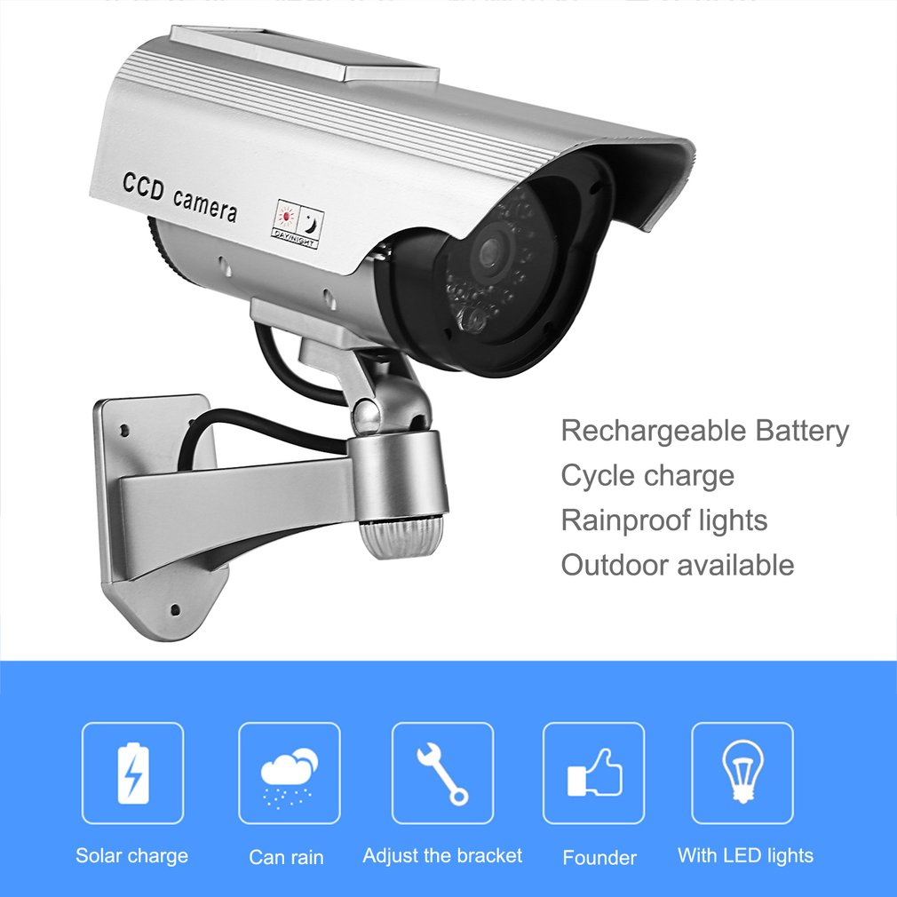Fake Camera Solar Power Dummy Emulational Cameras Waterproof Home Security CCTV Surveillance With LED Light Drop Ship