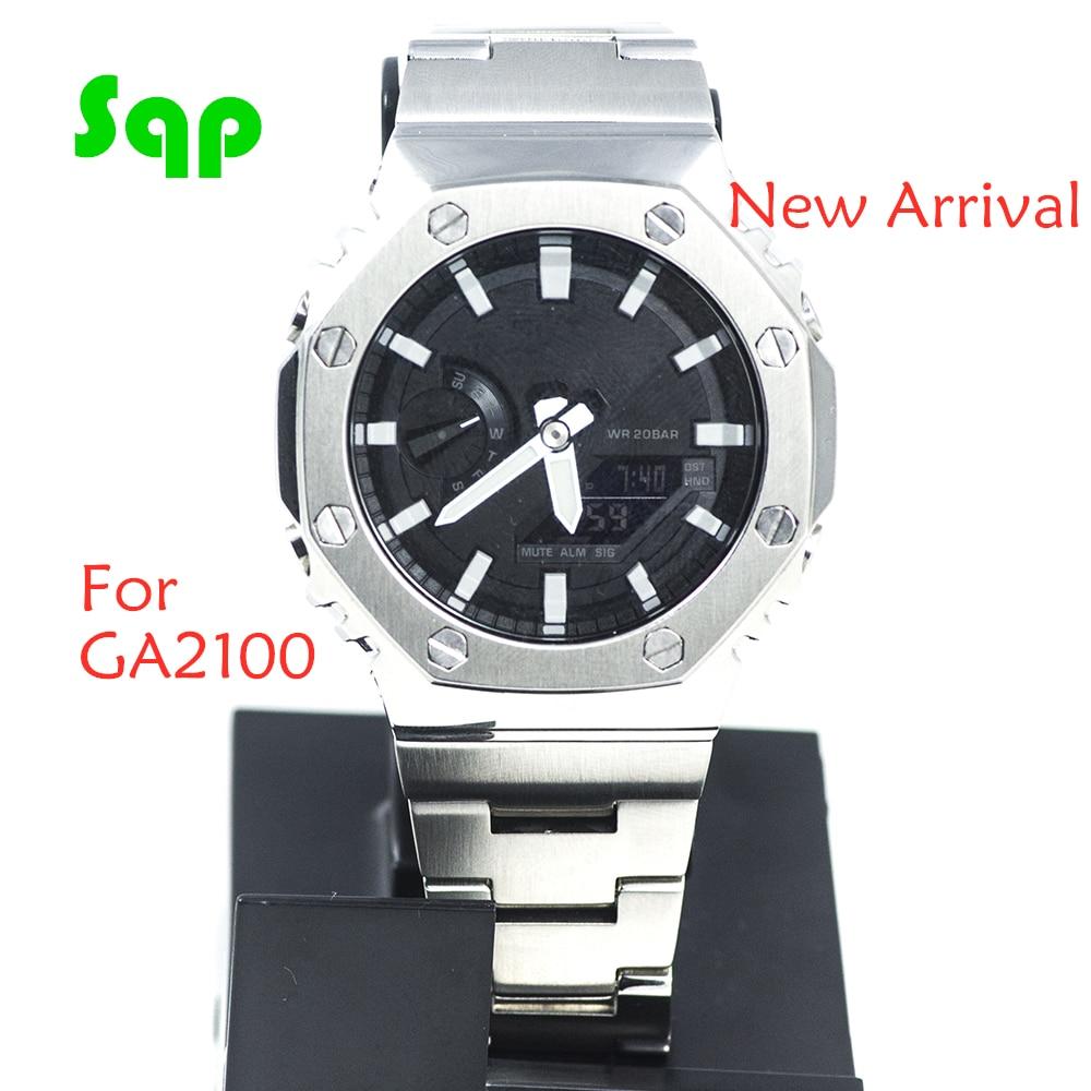 GA2100 Silver Set Watch Modification Watchband Bezel 100% Metal 316L Stainless Steel