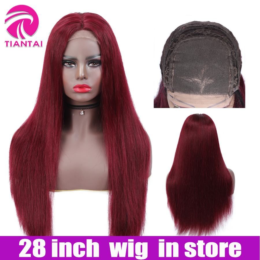 28 Inch Straight 4*4 Lace Closure Wig Human Hair Lace Wigs Brazilian Remy Hair Lace Wig Human Hair  Ombre Color Human Hair Wigs