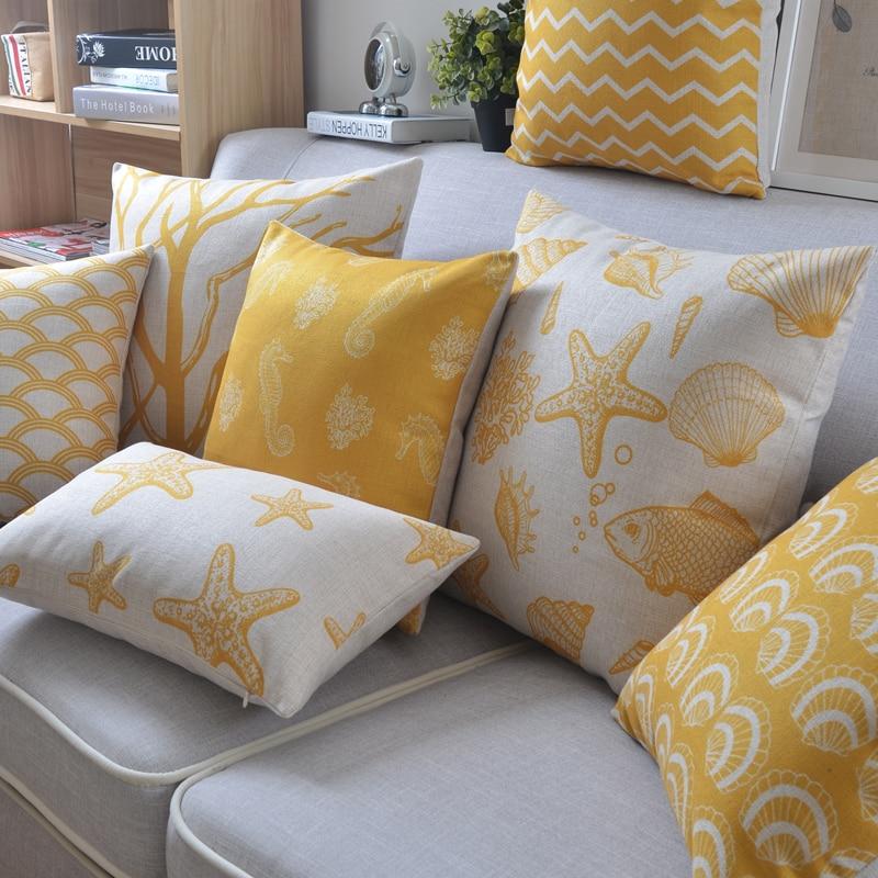 Yellow Starfish Sea Horse Shell Palm Tree Anchors Decorative Cushion Throw Pillow Case For Sofa Car Cushion Covers  45x45cm