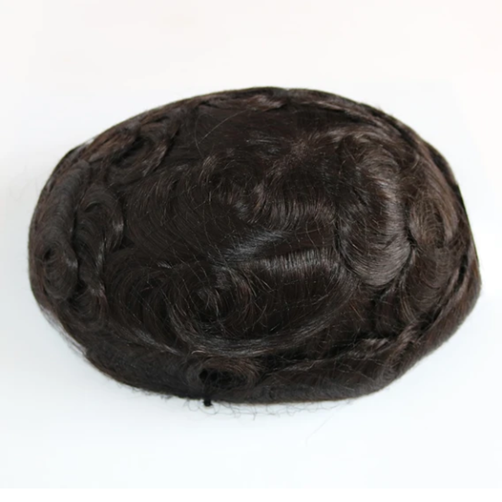 BYMC Men Toupee Durable Hairpieces PU Thin Brazil Human Hair System For Males Natural Hair Replacement Black And Brown Colored
