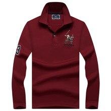 Plus größe Männer POLO Shirts Marke Baumwolle langarm Camisas solide stickerei Polo Sommer Stehen Kragen Männlichen Polo Shirt