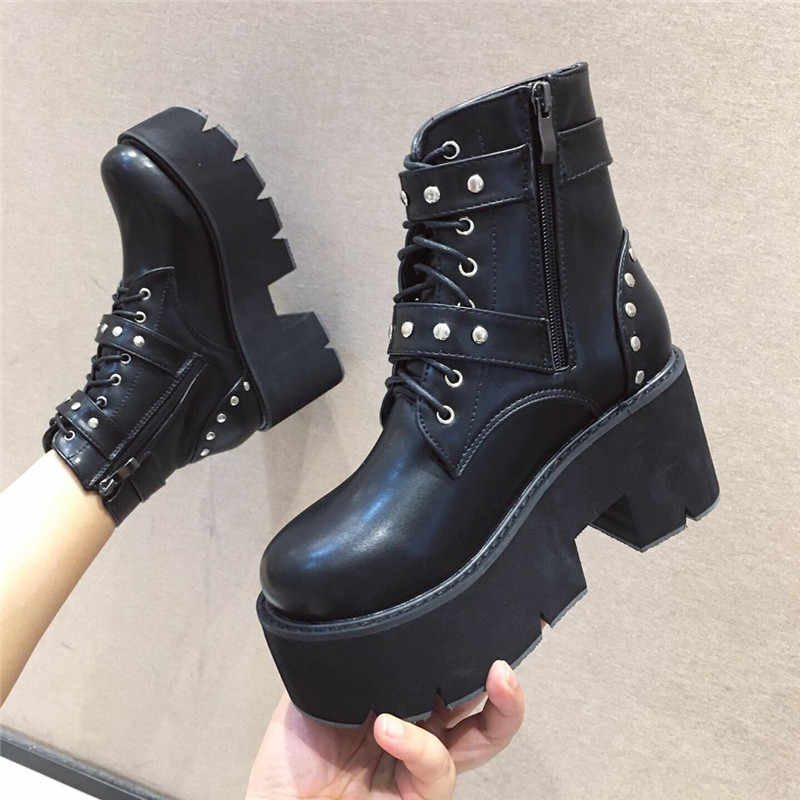 YMECHIC แฟชั่น Studded BUCKLE Lace Up Goth Creepers แพลตฟอร์มรอง